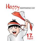 Ragazzo sveglio con la bandiera dell'Indonesia per la festa dell'indipendenza Immagine Stock