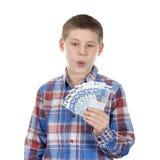 Ragazzo sveglio con le euro note Fotografia Stock Libera da Diritti