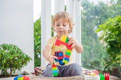 Ragazzo sveglio del bambino con il gioco con i lotti dei blocchi di plastica variopinti dell'interno Bambino attivo divertendosi  Immagine Stock