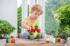Ragazzo sveglio del bambino con il gioco con i lotti dei blocchi di plastica variopinti dell'interno Bambino attivo divertendosi  Fotografie Stock Libere da Diritti