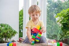 Ragazzo sveglio del bambino con il gioco con i lotti dei blocchi di plastica variopinti dell'interno Bambino attivo divertendosi  Fotografia Stock Libera da Diritti