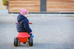 Ragazzo sveglio del bambino in vestiti caldi di autunno divertendosi con il triciclo fotografia stock