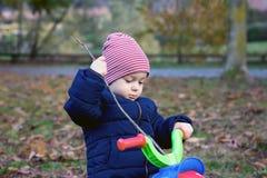 Ragazzo sveglio del bambino in vestiti caldi di autunno divertendosi con il triciclo fotografie stock libere da diritti