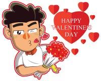 Ragazzo sveglio del fumetto con l'illustrazione di vettore del cuore Royalty Illustrazione gratis