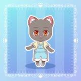 Ragazzo sveglio del gattino del fumetto di anime di kawaii di Kitty Little del gatto felice dolce di sorriso nel carattere dei ba Immagini Stock