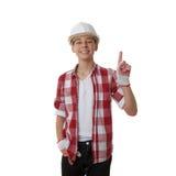 Ragazzo sveglio dell'adolescente sopra fondo bianco Fotografia Stock Libera da Diritti