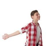 Ragazzo sveglio dell'adolescente sopra fondo isolato bianco Immagini Stock