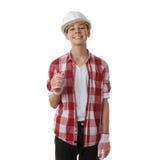 Ragazzo sveglio dell'adolescente sopra fondo isolato bianco Fotografia Stock Libera da Diritti