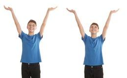 Ragazzo sveglio dell'adolescente sopra fondo isolato bianco Fotografie Stock Libere da Diritti