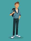 Ragazzo teenager che sta con lo Zaino di tennis dei jeans Immagine Stock Libera da Diritti