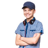 Ragazzo teenager con il cappuccio e le cuffie Immagine Stock Libera da Diritti
