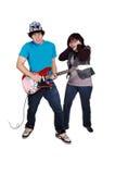 Ragazzo teenager con la chitarra. Immagini Stock
