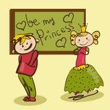 Ragazzo timido nell'amore con il illustrati divertente di piccola principessa Fotografia Stock