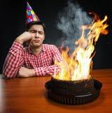 Ragazzo triste di compleanno Immagine Stock