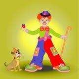 Ragazzo in un costume del pagliaccio con un cucciolo Fotografia Stock