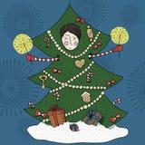 Ragazzo in un costume dell'albero di Natale illustrazione di stock