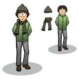 Ragazzo in un'illustrazione del rivestimento di inverno Fotografia Stock Libera da Diritti