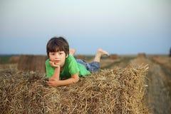 Ragazzo in un mucchio di fieno nel campo Fotografia Stock