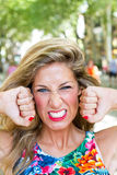 Rage. Facial expression of very angry woman Royalty Free Stock Photo