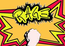Rage fire. Comic of a punch with text Royalty Free Stock Photos