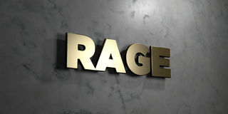Rage - Gold sign mounted on glossy marble wall  - 3D rendered royalty free stock illustration Royalty Free Stock Photos