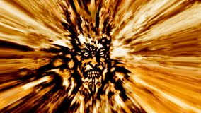 Rage golden zombie head. Image with blur effect. Illustration in genre of horror Stock Photography