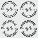 Rage insignia stamp isolated on white background. Grunge round hipster seal with text, ink texture and splatter and blots, vector illustration Royalty Free Stock Image