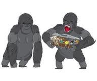Rage of monkey king. Monkey king aka King Kong standing and grabbing in rage van full of terrified people Royalty Free Stock Photography