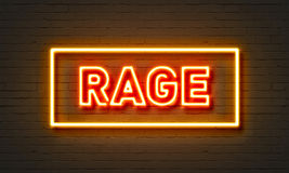 Rage neon sign on brick wall background. Royalty Free Stock Images