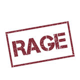 Rage rectangular stamp. Textured red seal with text isolated on white background, vector illustration Royalty Free Stock Images