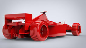 Rage red, formula racing car - back view. Isolated on white background Stock Photos