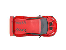 Rage red futuristic race sportscar - top view Royalty Free Stock Photography