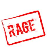 Rage red rubber stamp isolated on white. Rage red rubber stamp isolated on white background. Grunge rectangular seal with text, ink texture and splatter and Royalty Free Stock Photo