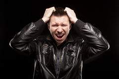 Rage - scream of angry man Royalty Free Stock Photography