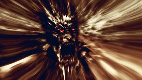 Rage zombie face brown cover. Image with blur effect. Illustration in genre of horror Stock Images