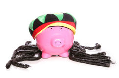 Raggae rasta jamaican piggy bank Stock Photography