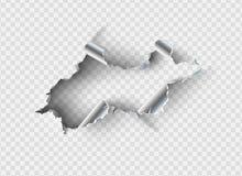 Ragged τρύπα που σχίζεται στο σχισμένο μέταλλο ελεύθερη απεικόνιση δικαιώματος