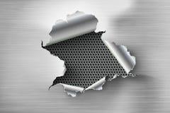 Ragged τρύπα που σχίζεται στο σχισμένο χάλυβα στο μέταλλο ελεύθερη απεικόνιση δικαιώματος