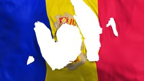 Ragged Andorra flag. White background, 3d rendering royalty free illustration