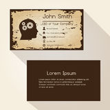 Ragged edges old paper brown business card design eps10 Stock Images
