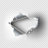Ragged Hole torn in ripped metal. On transparent background Royalty Free Stock Image