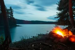 Ragged lake, Algonquin Provincial Park. Fire over ragged lake in Algonquin Provincial Park stock images