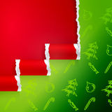 Ragged paper with christmas pattern Stock Photos