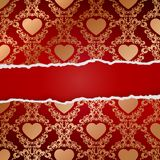 Ragged paper with pattern of hearts Royalty Free Stock Photo