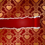 Ragged paper with pattern of hearts Royalty Free Stock Image