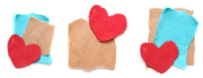 Ragged piece of old paper with heart. Tag Stock Photography