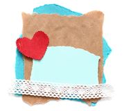 Ragged piece of old paper with heart. Tag Stock Photos