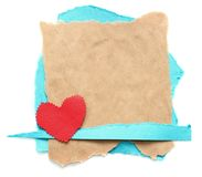 Ragged piece of old paper with heart. Tag Royalty Free Stock Images