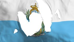 Ragged San Marino flag. White background, 3d rendering royalty free illustration