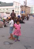 The ragged street children, the Roma live with the hobos at the train station at the dump royalty free stock photography